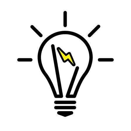 bombilla eléctrica de la silueta. símbolo de la cara brillante . ilustración vectorial lineal con la línea editable Ilustración de vector