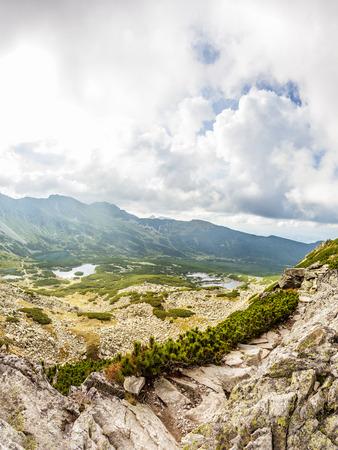 View from Krab to Zielona Dolina Gasienicowa valey in Tatra Mountains, Poland, Europe