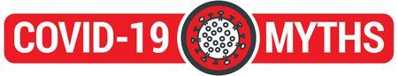 Covid-19 Myths sign with virus illustration. Vector icon Ilustração