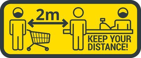 COVID-19 safety measure Keep safe social distance sign 矢量图片