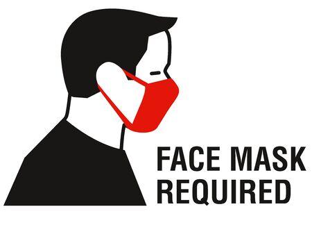 Masque facial obligatoire signe. Mesures de protection contre la maladie à coronavirus COVID-19