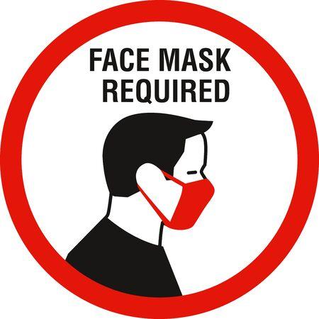 Face mask required sign. Protective measures against coronavirus disease COVID-19 Ilustración de vector