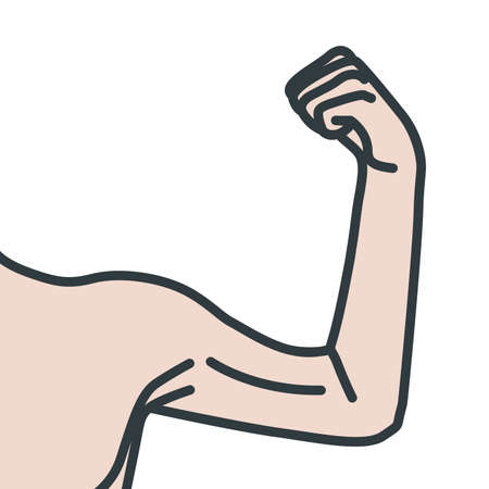 Weak male arms with flexed biceps muscles. Linear vector illustration