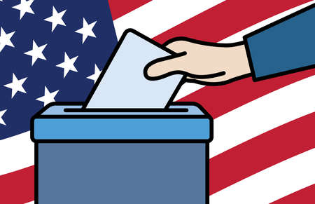 Voters hand putting envelope in ballot box Ilustrace