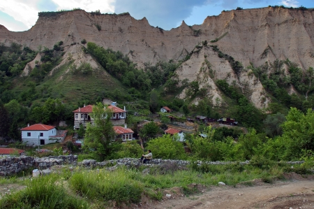 Smallest town in Bulgaria, Melnik. Afternoon. Sand pyramid. Stock Photo
