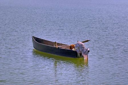 kerkini: Old wooden fishing boat at lake Kerkini in Greece Stock Photo
