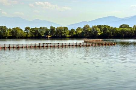kerkini:  Fishing fence in Kerkini ecoarea lake, Greece
