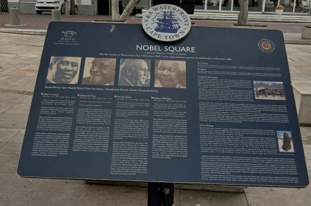 laureates: Visiting the Nobel Square at Waterfront in Cape Town Editorial
