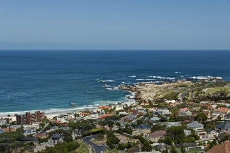 table mountain national park: Camps bay, Atlantic ocean, Cape town, Table Mountain National Park, South Africa  Stock Photo