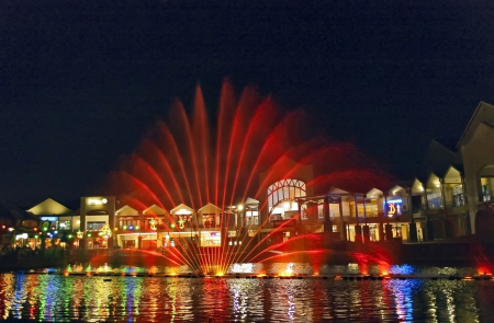 spectacle: A lights, colors and music spectacle at night displayed in magic fountains Johannesburg, South Africa