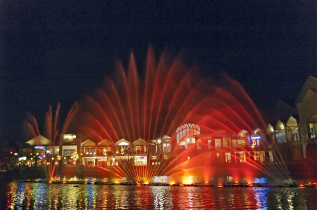 displayed: A lights, colors and music spectacle at night displayed in magic fountains Johannesburg, South Africa