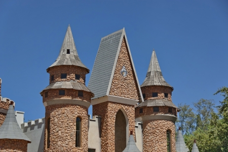 steeples: Part of turret and steeples in Chateau de Nates, South Africa