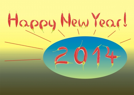 salut: Happy new year greeting for 2014 with hot chilli inscription