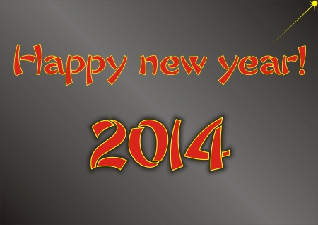salut: Happy new year greeting for 2014 on black background