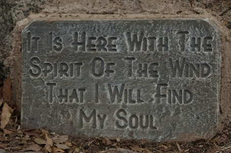 A stone inscription for meditation in Pilanesberg National Park, South Africa Stock Photo - 24058036