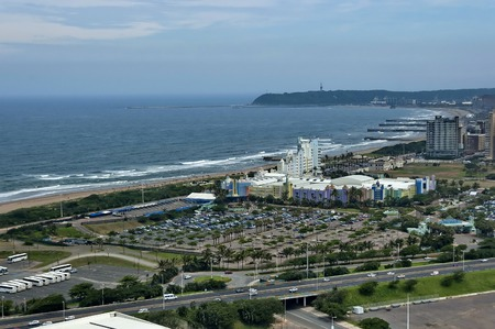 stadium  durban: Seaside above view to Durban coast from Moses Mabhida stadium in Durban