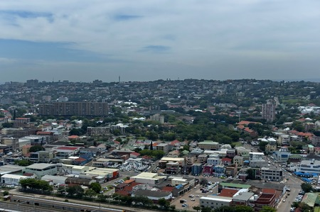 mabhida: Above view to Durban city from Moses Mabhida stadium, South Africa