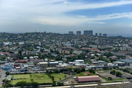 stadium  durban: Above view to Durban city from Moses Mabhida stadium, South Africa