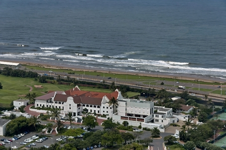 mabhida: Seaside above view to Durban coast from Moses Mabhida stadium in Durban