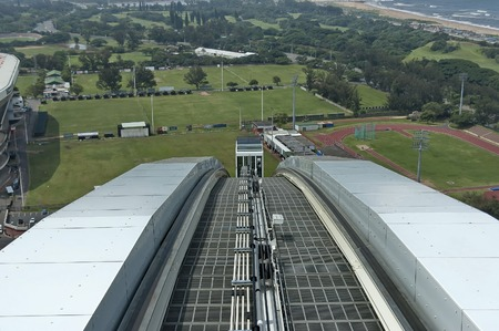 stadium  durban: Skycar oncoming - Moses Mabhida stadium in Durban, South Africa