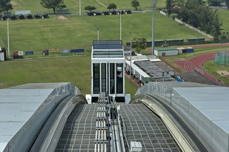 stadium  durban: Skycar arrive - Moses Mabhida stadium in Durban, South Africa Editorial