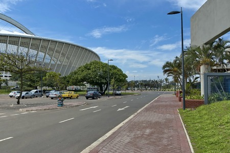 stadium  durban: Alongside of Moses Mabhida soccer stadium in Durban, South Africa