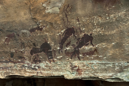 Rock drawing of long past San people  Bushman  in Giants Castle Cave KwaZulu-Natal nature   reserve, Drakensberg South Africa