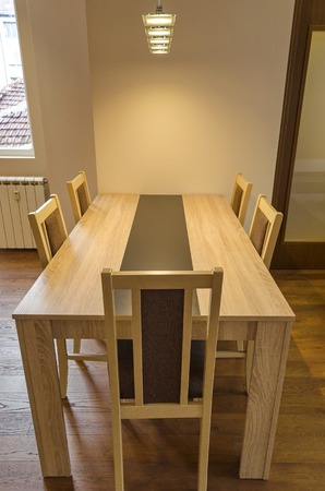 renovated: Dining-table in living room - renovated apartment in Sofia