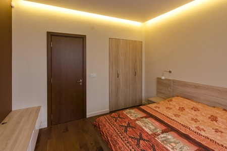 renovated: Bedroom in  fresh renovated apartment in Sofia Stock Photo