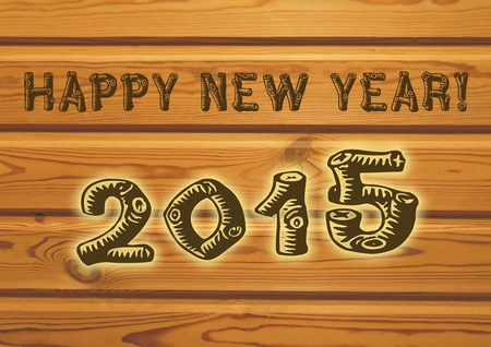salut: Happy new year greeting for 2015 on beautiful wood background