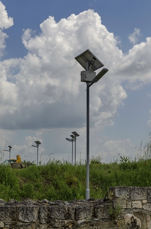 lighting system: Autonomous solar lighting system in ancient Roman town peristyle complex Abritus Stock Photo