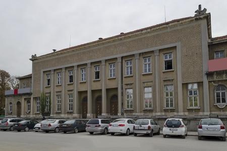 oficina antigua: Antiguo edificio de correos en la ciudad de Ruse, Bulgaria Editorial