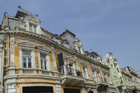 renovated: Ancient renovated building with rich decoration in Ruse town