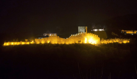tarnovo: Evening lighting at ancient fortress in Veliko Tarnovo town, Bulgaria