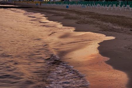 lido: Lido di Jesolo coast beach at dusk, Italy Stock Photo