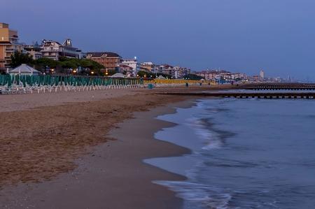 lido: Lido di Jesolo at dusk, Adriatic sea, venetian Riviera, Italy Stock Photo