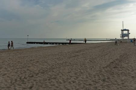 lido: Wood path of sea beach in Lido di Jesolo at dusk, Italy