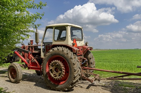 wheeled tractor: Wheeled tractor with trailer, Zavet town Stock Photo