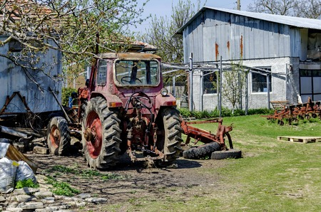 farm machinery: Old abandoned farm machinery, Bulgaria
