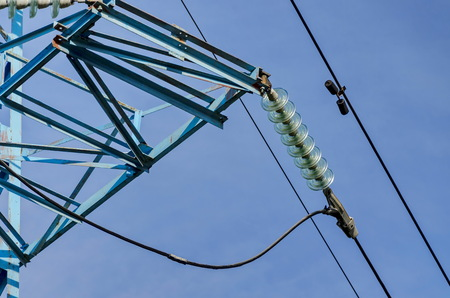the insulator: Bell-shaped insulator chain of electric power transmission line, Sofia Stock Photo