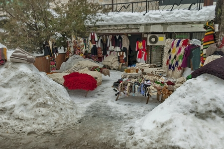 froze: Hand-knitted clothes and cover retail sale in Bansko town