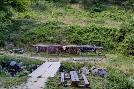 repose: Drying-place and nook for repose by Fulling-mill in Jeleznitsa village, near Sofia