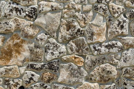 Revetment of wall with stone tile in monastery