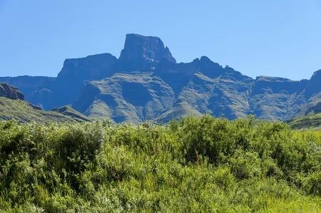 Three big rock peak in Drakensberg mountain Banco de Imagens