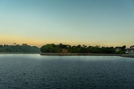 view of the reservoir in the late afternoon with the blue sky, at Yogyakart, Indonesia