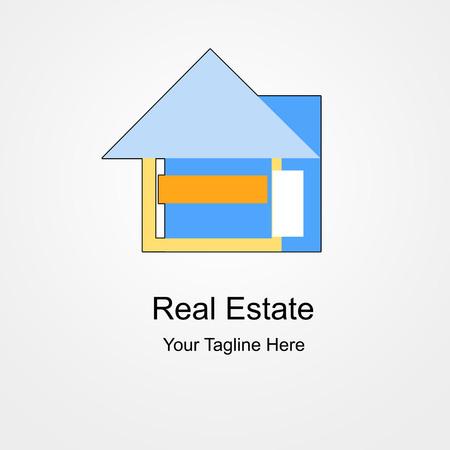 Logo Real Estate Eenvoudig Blauwachtig en Orange Stockfoto