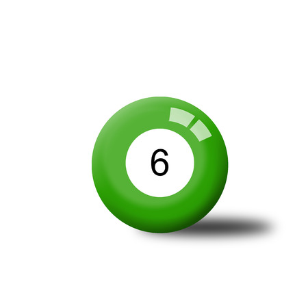 six objects: Number 6 Billiard Ball Stock Photo