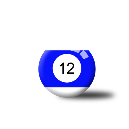 12: Number 12 Billiard Ball Stock Photo