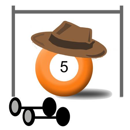 Billiard Ball Number 5 Illustration
