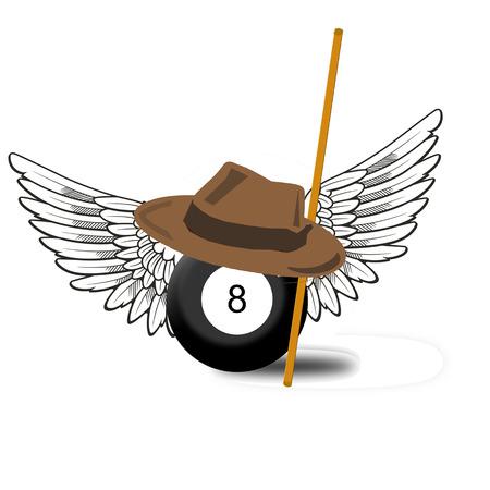 Billiard Ball Number 8 Illustration